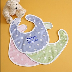 Personalized Velour Polka-Dot Bib