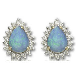 14k Yellow Gold Pear Shaped Opal and Diamond Earrings