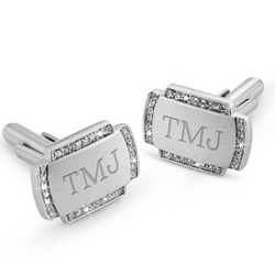 Crystal Cuff Links with Men's Valet Box