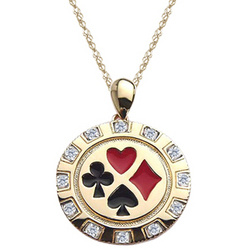 Diamond Men's Poker Chip Enameled Pendant in Yellow Gold