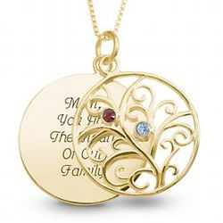 14K Gold Plated Family Birthstone Necklace
