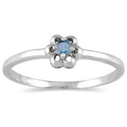 Blue Diamond Promise Ring in 10K White Gold