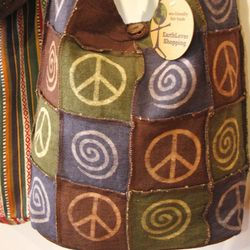 Peace Sign Sling Patch Bag