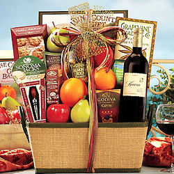 Fruit and Favorites with Merlot Gift Basket