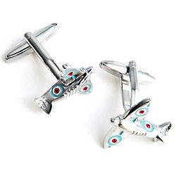 Dashing Spitfire Cufflinks with Personalized Case