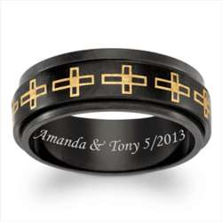 Personalized Men's Black Titanium and Gold IP Cross Spinner Band