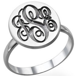 Sterling Silver Monogram Signet Ring
