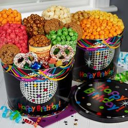 Birthday Glitz Popcorn Tins and Snack Assortments