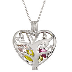 Heart Family Tree 6mm Round Birthstone Silver Locket