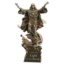 Light of the World Illuminated Cold-Cast Bronze Jesus Sculpture