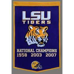 LSU Vintage Wool Dynasty Banner with Cafe Rod
