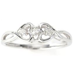 14k White Gold Diamond Heart Promise Ring