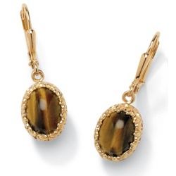 18k Gold Over Sterling Silver Tiger's-Eye Pierced Earrings