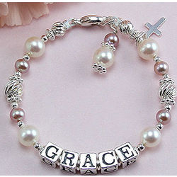 Freshwater Cultured Pearl Birthstone Name Bracelet