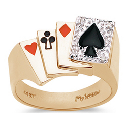 Diamond Men's Poker Ring in 14K Yellow Gold