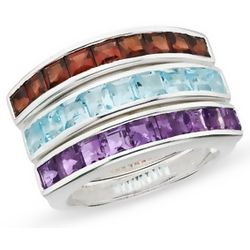 Garnet, Amethyst and Blue Topaz Sterling Silver Rings