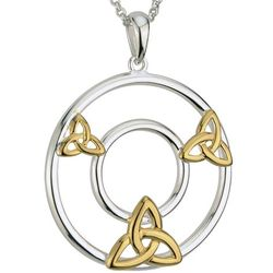 Sterling Silver/Gold Plated Trinity Knot Circle Pendant