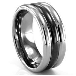 Tungsten and Black Seranite Ring