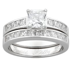 Sterling Silver Square CZ Engraved Wedding Ring Set