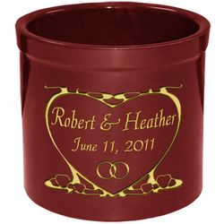 Personalized Heart Design Pottery Crock