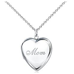 Sterling Silver Mom Heart Locket Necklace