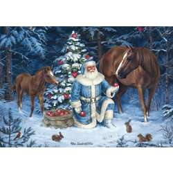 Santa Horse Scene Christmas Cards