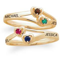 14K Gold Over Sterling Couple's Birthstone and Name Hearts Ring