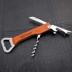 Personalized Wood Handled Wine Bottle Opener Multi-Tool