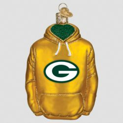 Green Bay Packers Hand Blown Glass Hoodie Ornament