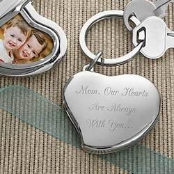 Heart Locket 2-Photo Engraved Key Ring