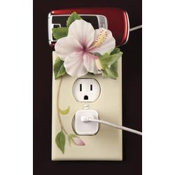 Hummingbird and Hibiscus Outlet Cover and Cell Phone Holder