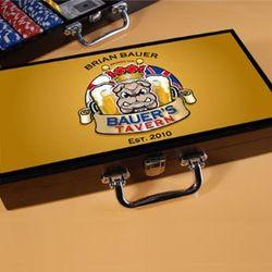 Personalized English Bulldog Tavern Design Poker Set