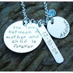 The Love Between a Mother & Child Hand Stamped Necklace