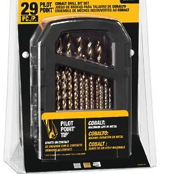 Cobalt Pilot Point Metal Drill Bit Index Set