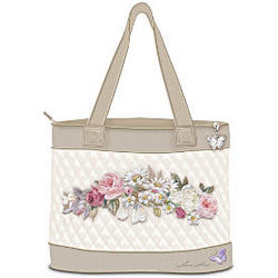 Garden Perfection Embroidered Tote Bag