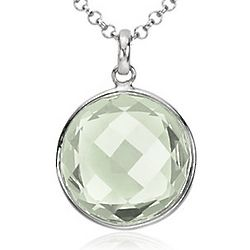 Sterling Silver Faceted Green Quartz Pendant