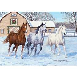 Running Free Winter Horse Scene Christmas Card