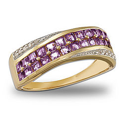 Brilliant Embrace Amethyst and Diamond Ring