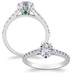 Cubic Zirconia Solitaire and Hidden Birthstones Couple's Ring