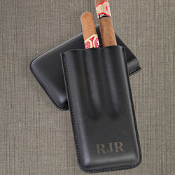 Triple Cigar Leather Case