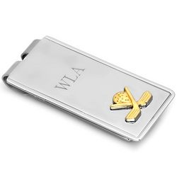 Golfer's Personalized Spring-Loaded Money Clip