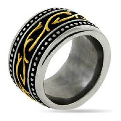 Engravable Men's Ring with Tribal Design and Gold Accents