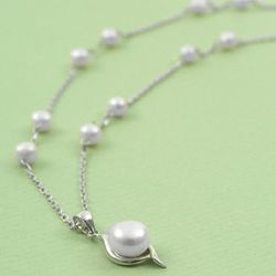 Bride's Silver and Freshwater Pearl Necklace