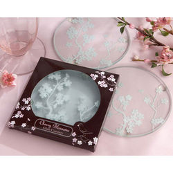 Cherry Blossoms Frosted Glass Coaster Wedding Favors