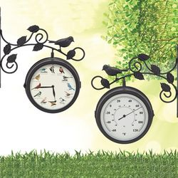 Singing Indoor or Outdoor Clock and Thermometer