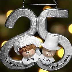 Personalized 25th Wedding Anniversary Ornament