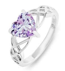 Custom Heart Birthstone Infinity Knot Silver Ring