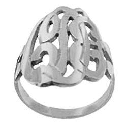 Sterling Silver Script Initial Monogram Ring