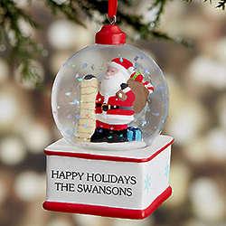 Ho Ho Ho! Santa Personalized Snow Globe Ornament