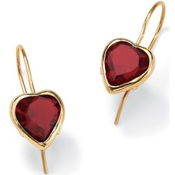 10K Gold Heart-Shaped Birthstone Pierced Earrings